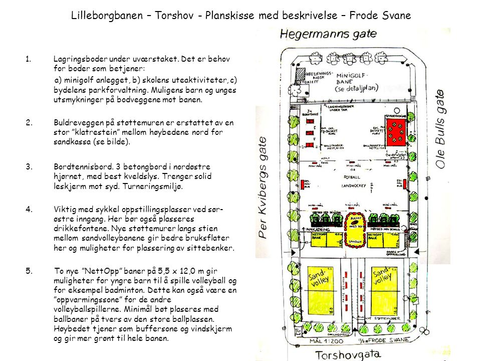 Lilleborgbanen – Torshov - Planskisse med beskrivelse – Frode Svane 1.Lagringsboder under uværstaket. Det er behov for boder som betjener: a) minigolf