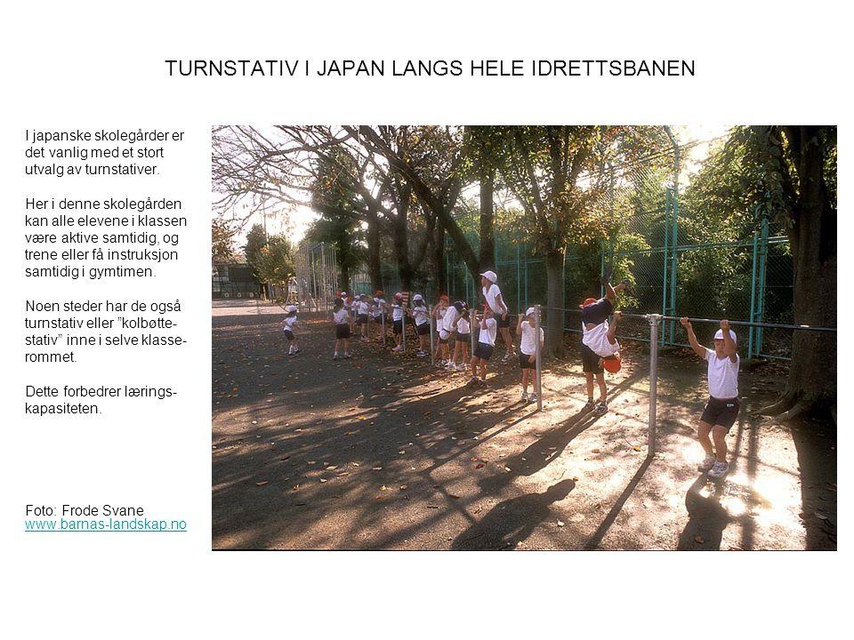 TURNSTATIV I JAPAN LANGS HELE IDRETTSBANEN I japanske skolegårder er det vanlig med et stort utvalg av turnstativer. Her i denne skolegården kan alle