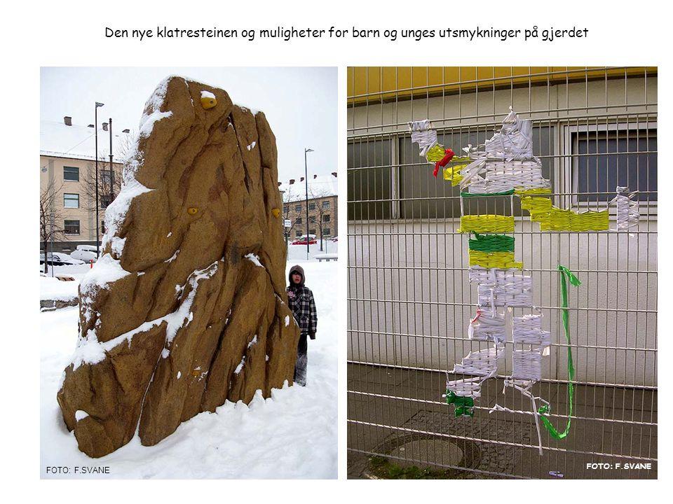 Den nye klatresteinen og muligheter for barn og unges utsmykninger på gjerdet Foto: Frode Svane FOTO: F.SVANE