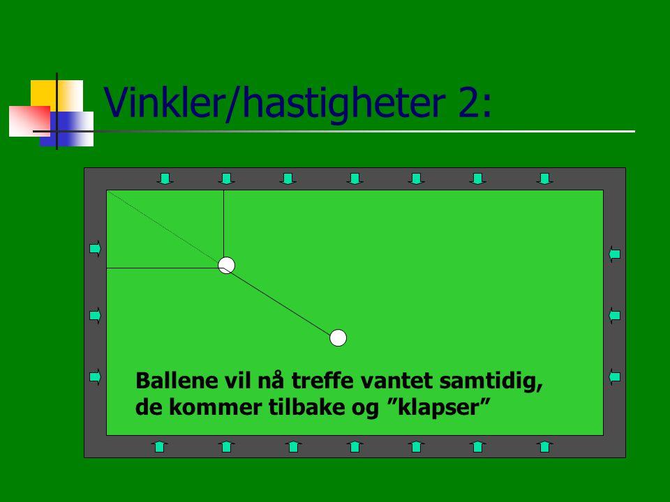 """Vinkler/hastigheter 2: Ballene vil nå treffe vantet samtidig, de kommer tilbake og """"klapser"""""""