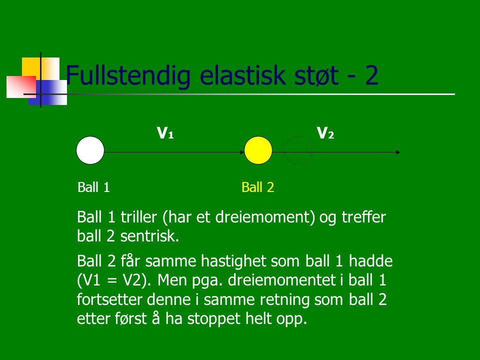 Fullstendig elastisk støt - 2 Ball 1Ball 2 V1V1 V2V2 Ball 1 triller (har et dreiemoment) og treffer ball 2 sentrisk. Ball 2 får samme hastighet som ba
