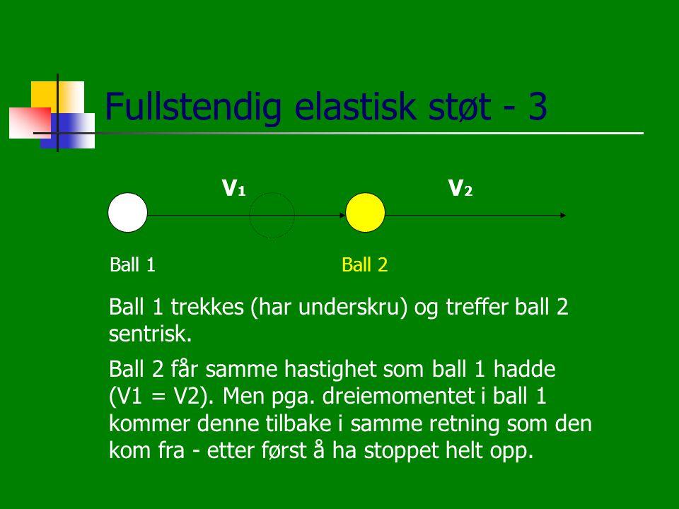 Fullstendig elastisk støt - 3 Ball 1Ball 2 V1V1 V2V2 Ball 1 trekkes (har underskru) og treffer ball 2 sentrisk. Ball 2 får samme hastighet som ball 1