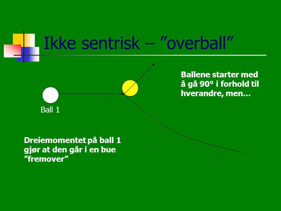 """Ikke sentrisk – """"overball"""" Dreiemomentet på ball 1 gjør at den går i en bue """"fremover"""" Ballene starter med å gå 90° i forhold til hverandre, men… Ball"""
