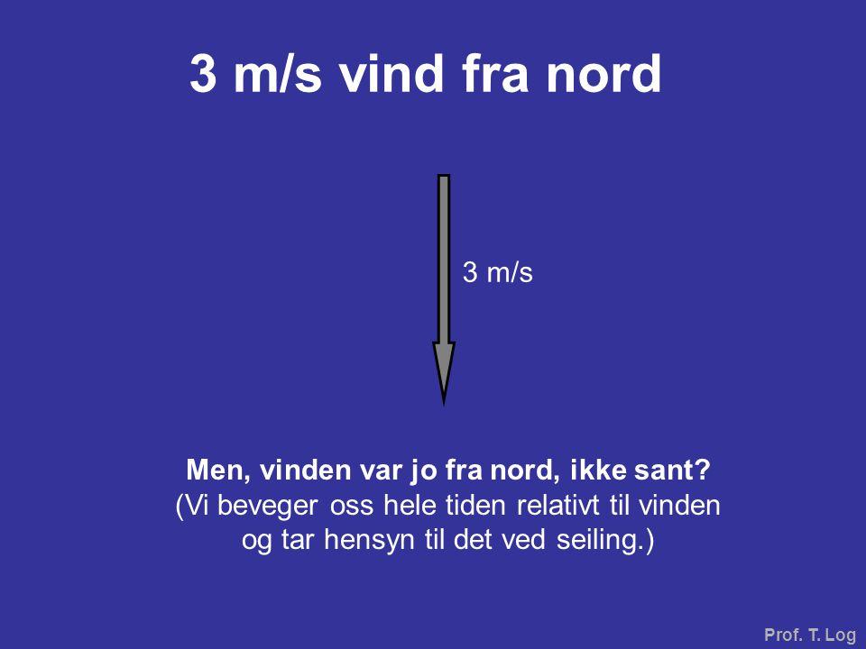 Prof. T. Log 3 m/s vind fra nord Men, vinden var jo fra nord, ikke sant? (Vi beveger oss hele tiden relativt til vinden og tar hensyn til det ved seil