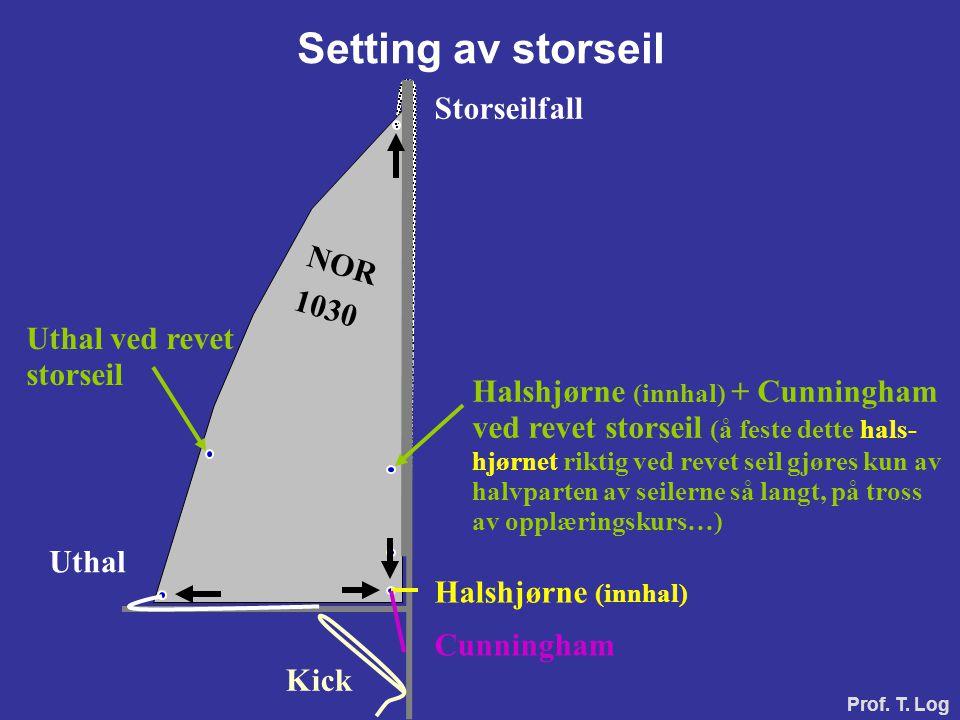 Setting av storseil Storseilfall Halshjørne (innhal) Uthal Cunningham Halshjørne (innhal) + Cunningham ved revet storseil (å feste dette hals- hjørnet
