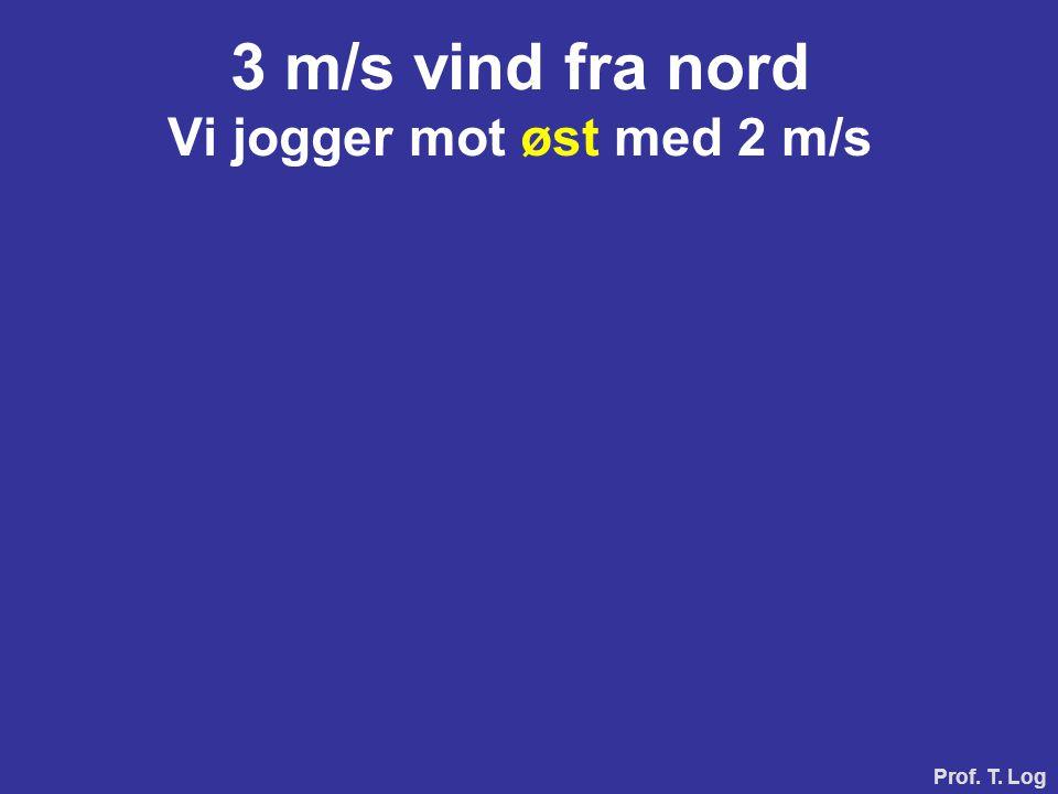 Prof. T. Log 3 m/s vind fra nord Vi jogger mot øst med 2 m/s