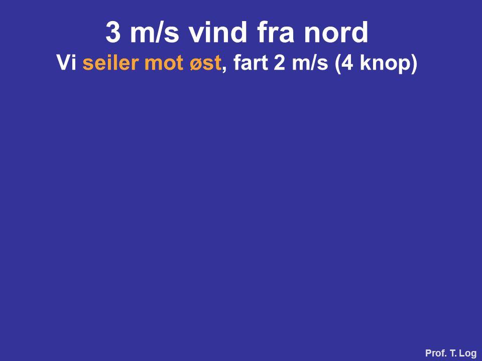 Prof. T. Log 3 m/s vind fra nord Vi seiler mot vest, fart 2 m/s (4 knop)