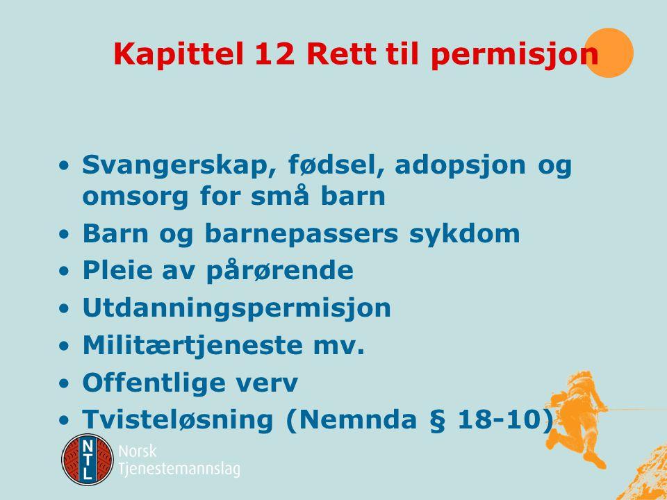 Noen andre kapitler •Kapittel 11 Arbeid av barn og unge •Kapittel 12 Rett til permisjon •Kapittel 13 Vern mot diskriminering