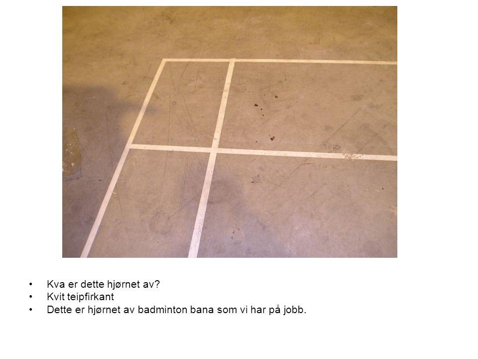 •Kva er dette hjørnet av? •Kvit teipfirkant •Dette er hjørnet av badminton bana som vi har på jobb.