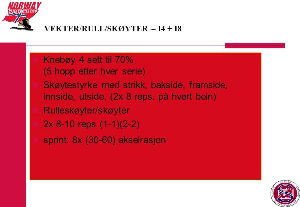  Knebøy 4 sett til 70% (5 hopp etter hver serie)  Skøytestyrke med strikk, bakside, framside, innside, utside, (2x 8 reps.