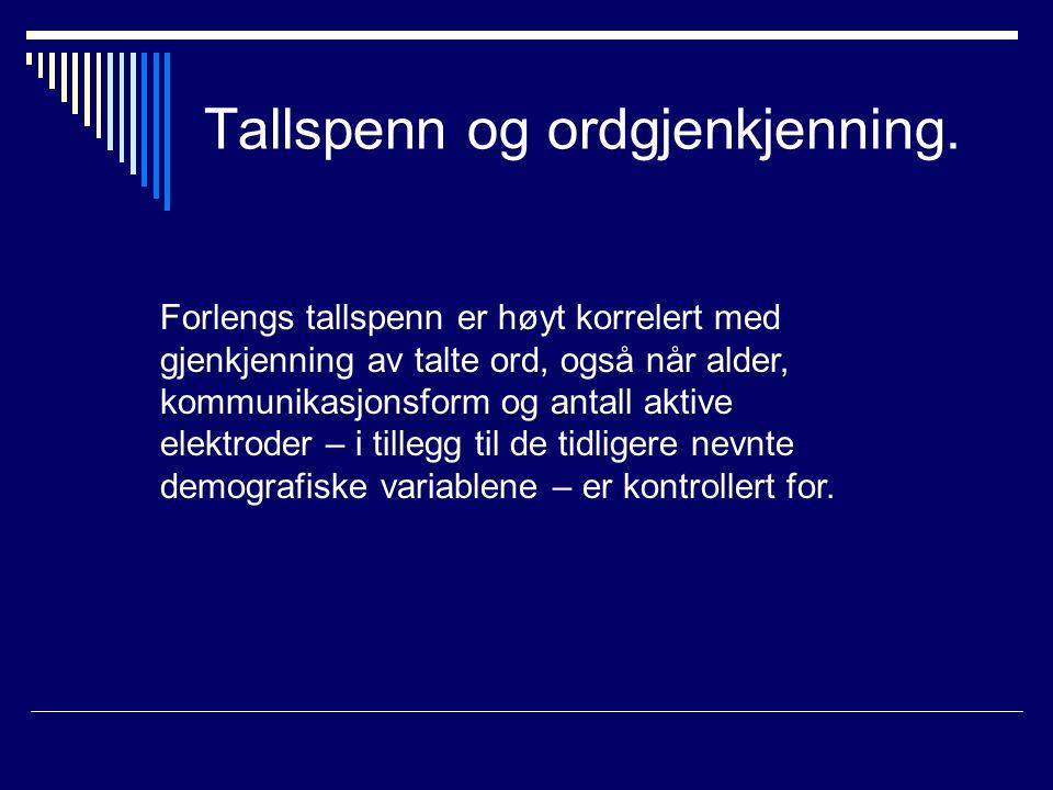 Tallspenn og ordgjenkjenning.