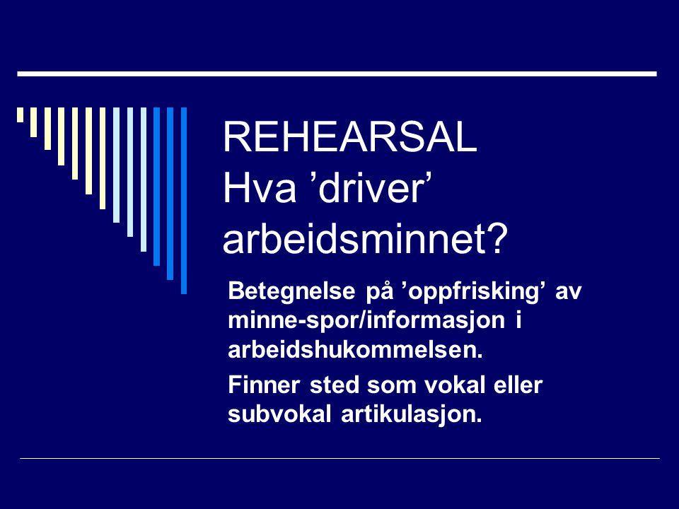REHEARSAL Hva 'driver' arbeidsminnet.