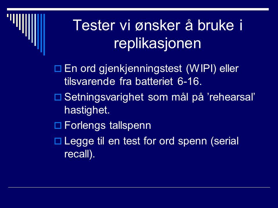 Tester vi ønsker å bruke i replikasjonen  En ord gjenkjenningstest (WIPI) eller tilsvarende fra batteriet 6-16.