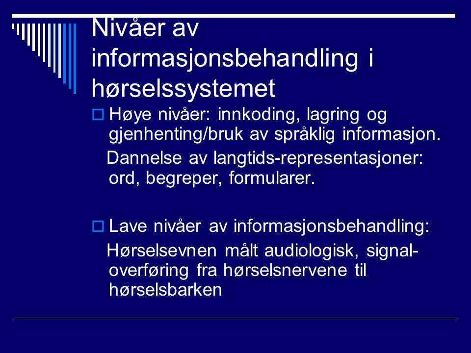 Nivåer av informasjonsbehandling i hørselssystemet  Høye nivåer: innkoding, lagring og gjenhenting/bruk av språklig informasjon.