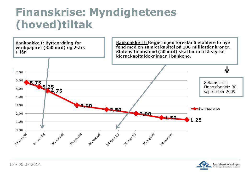 Finanskrise: Myndighetenes (hoved)tiltak 15  06.07.2014 Bankpakke I: Bytteordning for verdipapirer (350 mrd) og 2-års F-lån Bankpakke II: Regjeringen