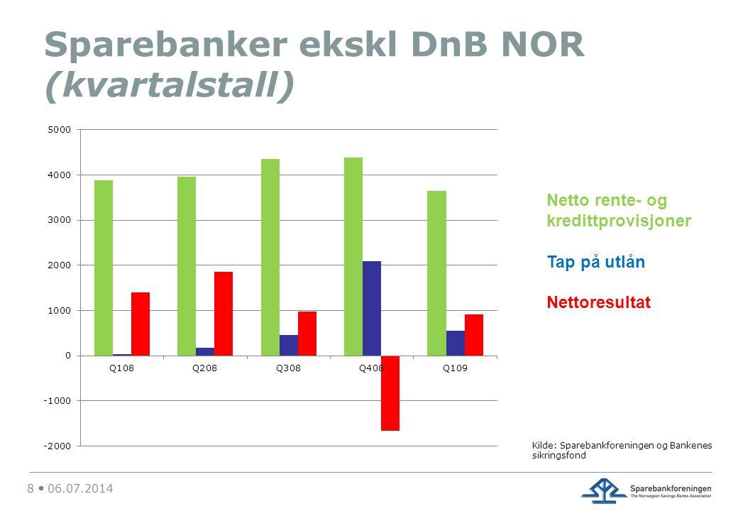 Sparebanker ekskl DnB NOR (kvartalstall) 8  06.07.2014 Kilde: Sparebankforeningen og Bankenes sikringsfond Netto rente- og kredittprovisjoner Tap på utlån Nettoresultat