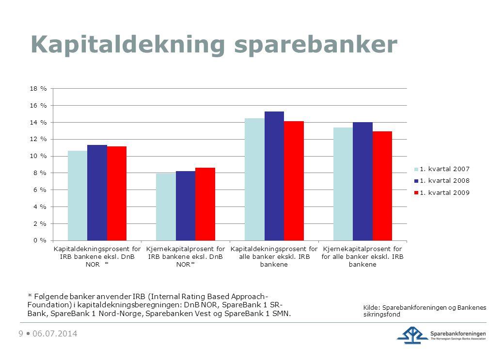 Kapitaldekning sparebanker 9  06.07.2014 * Følgende banker anvender IRB (Internal Rating Based Approach- Foundation) i kapitaldekningsberegningen: DnB NOR, SpareBank 1 SR- Bank, SpareBank 1 Nord-Norge, Sparebanken Vest og SpareBank 1 SMN.