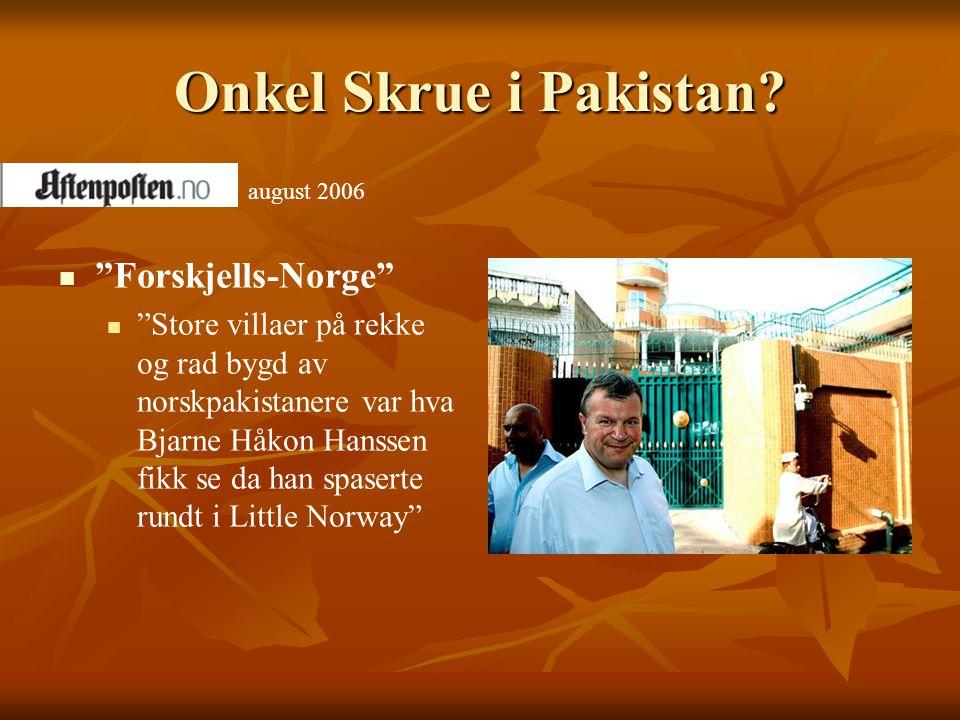 """Onkel Skrue i Pakistan?   """"Forskjells-Norge""""   """"Store villaer på rekke og rad bygd av norskpakistanere var hva Bjarne Håkon Hanssen fikk se da han"""