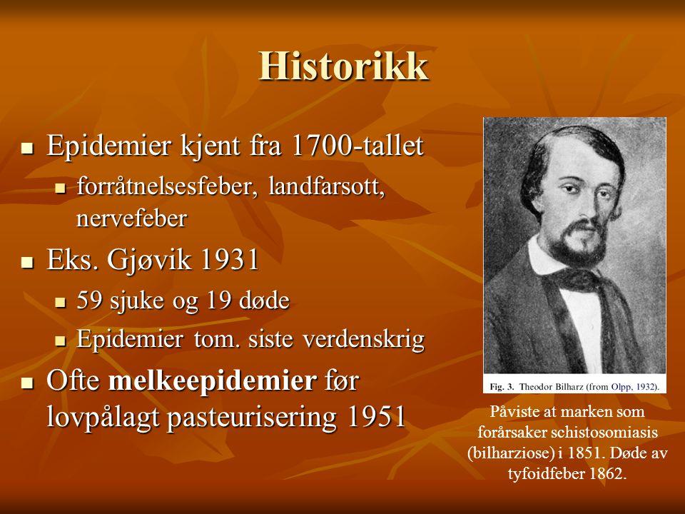 Historikk  Epidemier kjent fra 1700-tallet  forråtnelsesfeber, landfarsott, nervefeber  Eks. Gjøvik 1931  59 sjuke og 19 døde  Epidemier tom. sis