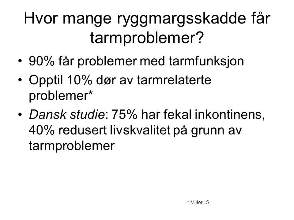 Hvor mange ryggmargsskadde får tarmproblemer? •90% får problemer med tarmfunksjon •Opptil 10% dør av tarmrelaterte problemer* •Dansk studie: 75% har f