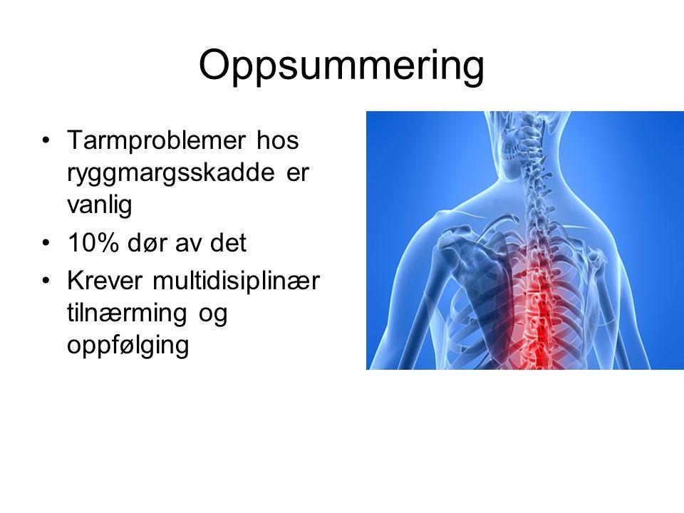 Oppsummering •Tarmproblemer hos ryggmargsskadde er vanlig •10% dør av det •Krever multidisiplinær tilnærming og oppfølging