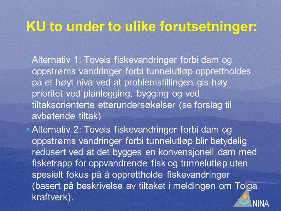 KU to under to ulike forutsetninger: • Alternativ 1: Toveis fiskevandringer forbi dam og oppstrøms vandringer forbi tunnelutløp opprettholdes på et høyt nivå ved at problemstillingen gis høy prioritet ved planlegging, bygging og ved tiltaksorienterte etterundersøkelser (se forslag til avbøtende tiltak) • Alternativ 2: Toveis fiskevandringer forbi dam og oppstrøms vandringer forbi tunnelutløp blir betydelig redusert ved at det bygges en konvensjonell dam med fisketrapp for oppvandrende fisk og tunnelutløp uten spesielt fokus på å opprettholde fiskevandringer (basert på beskrivelse av tiltaket i meldingen om Tolga kraftverk).