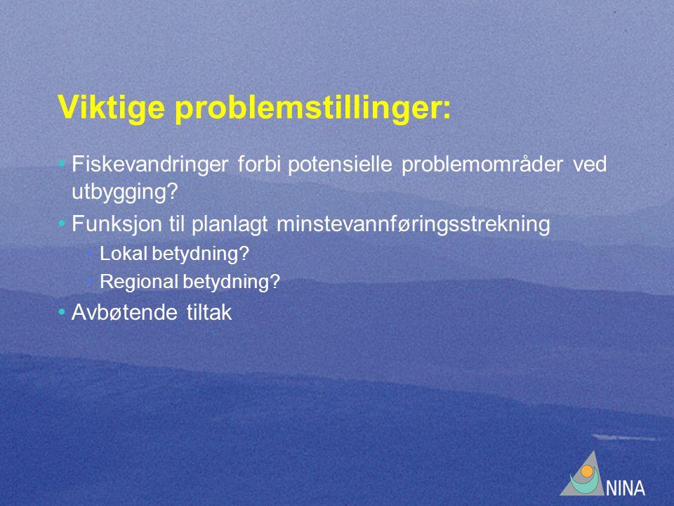 Viktige problemstillinger: • Fiskevandringer forbi potensielle problemområder ved utbygging.