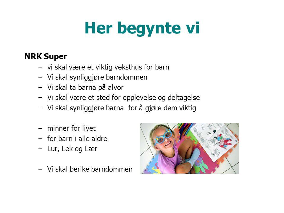 Her begynte vi NRK Super –vi skal være et viktig veksthus for barn –Vi skal synliggjøre barndommen –Vi skal ta barna på alvor –Vi skal være et sted for opplevelse og deltagelse –Vi skal synliggjøre barna for å gjøre dem viktig –minner for livet –for barn i alle aldre –Lur, Lek og Lær –Vi skal berike barndommen