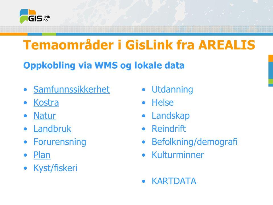 Temaområder i GisLink fra AREALIS Oppkobling via WMS og lokale data •Samfunnssikkerhet •Kostra •Natur •Landbruk •Forurensning •Plan •Kyst/fiskeri •Utdanning •Helse •Landskap •Reindrift •Befolkning/demografi •Kulturminner •KARTDATA