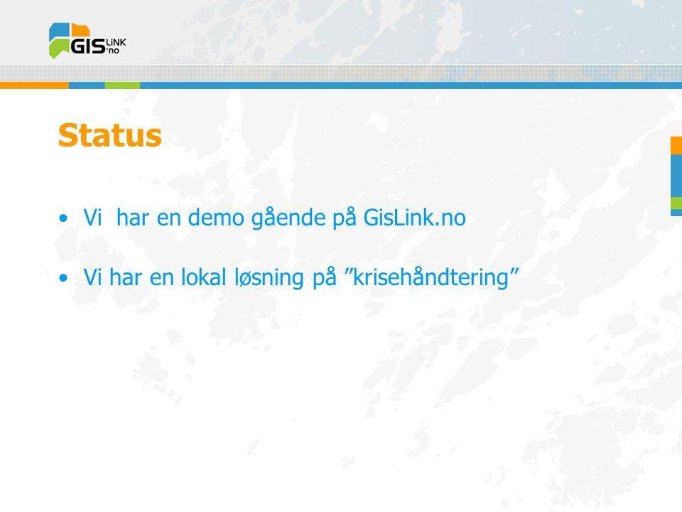 Status •Vi har en demo gående på GisLink.no •Vi har en lokal løsning på krisehåndtering