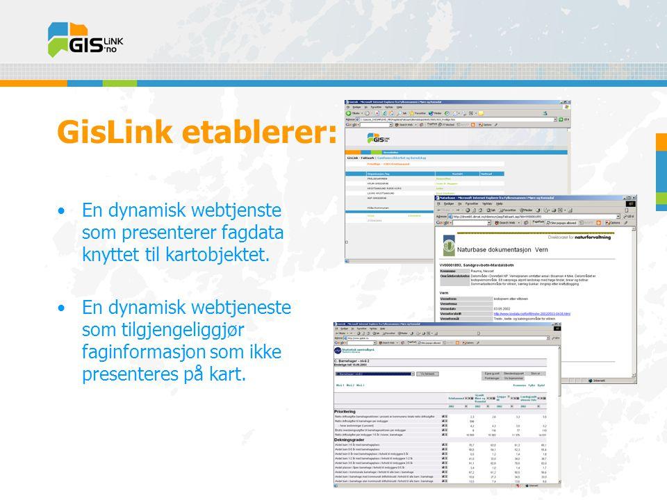 GisLink etablerer: •En dynamisk webtjenste som presenterer fagdata knyttet til kartobjektet.