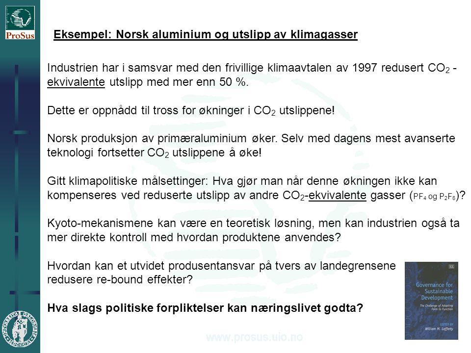 4 Eksempel: Norsk aluminium og utslipp av klimagasser Industrien har i samsvar med den frivillige klimaavtalen av 1997 redusert CO 2 - ekvivalente utslipp med mer enn 50 %.
