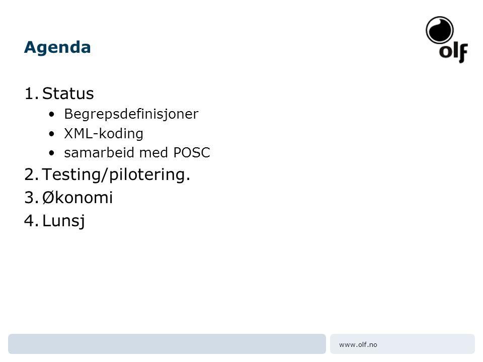 www.olf.no Agenda 1.Status •Begrepsdefinisjoner •XML-koding •samarbeid med POSC 2.Testing/pilotering. 3.Økonomi 4.Lunsj