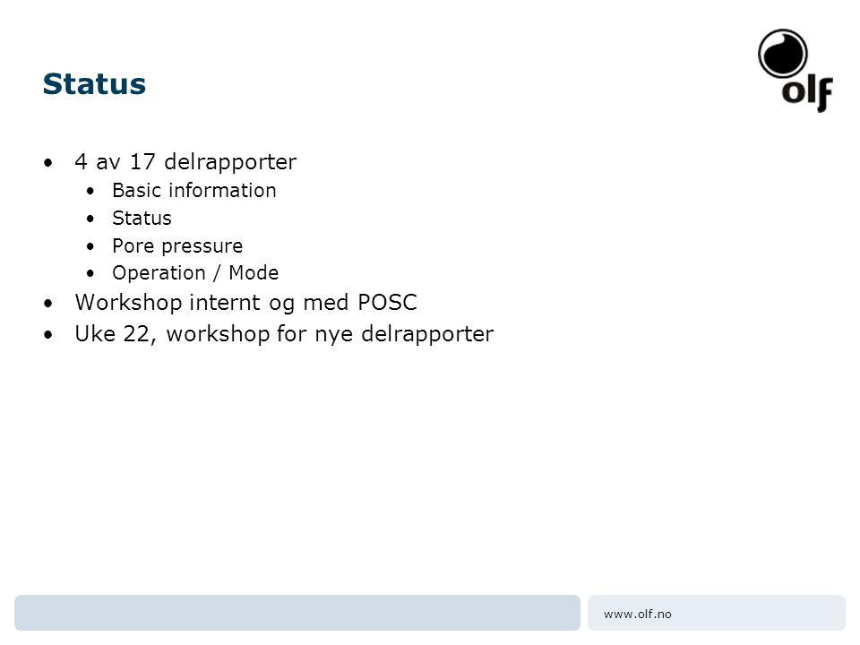 www.olf.no Status •4 av 17 delrapporter •Basic information •Status •Pore pressure •Operation / Mode •Workshop internt og med POSC •Uke 22, workshop fo