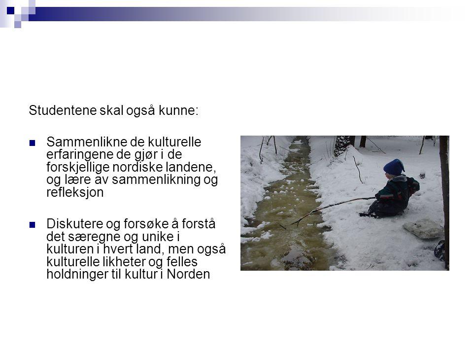 Studentene skal også kunne:  Sammenlikne de kulturelle erfaringene de gjør i de forskjellige nordiske landene, og lære av sammenlikning og refleksjon  Diskutere og forsøke å forstå det særegne og unike i kulturen i hvert land, men også kulturelle likheter og felles holdninger til kultur i Norden