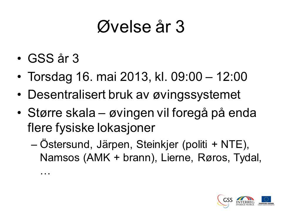 Øvelse år 3 •GSS år 3 •Torsdag 16. mai 2013, kl.