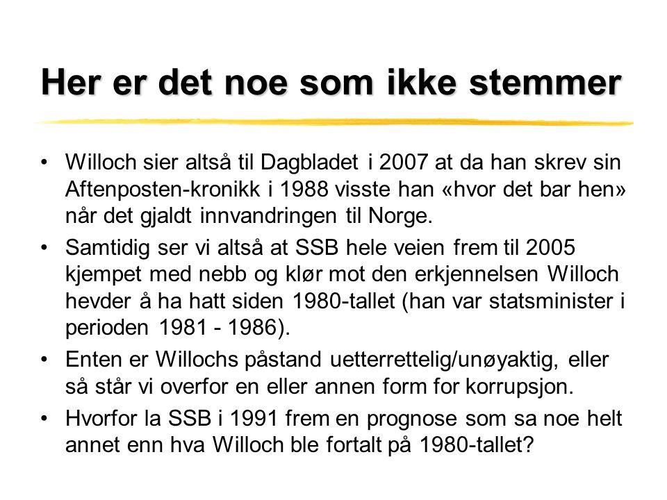 Her er det noe som ikke stemmer •Willoch sier altså til Dagbladet i 2007 at da han skrev sin Aftenposten-kronikk i 1988 visste han «hvor det bar hen»