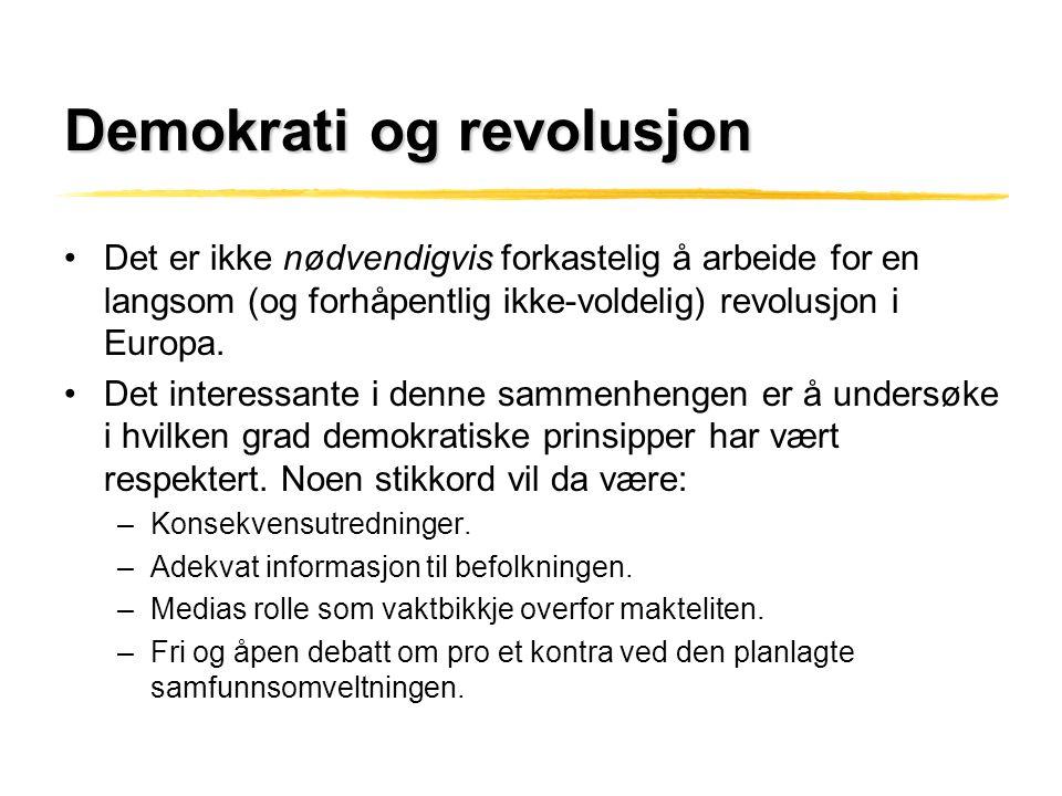 Demokrati og revolusjon •Det er ikke nødvendigvis forkastelig å arbeide for en langsom (og forhåpentlig ikke-voldelig) revolusjon i Europa. •Det inter