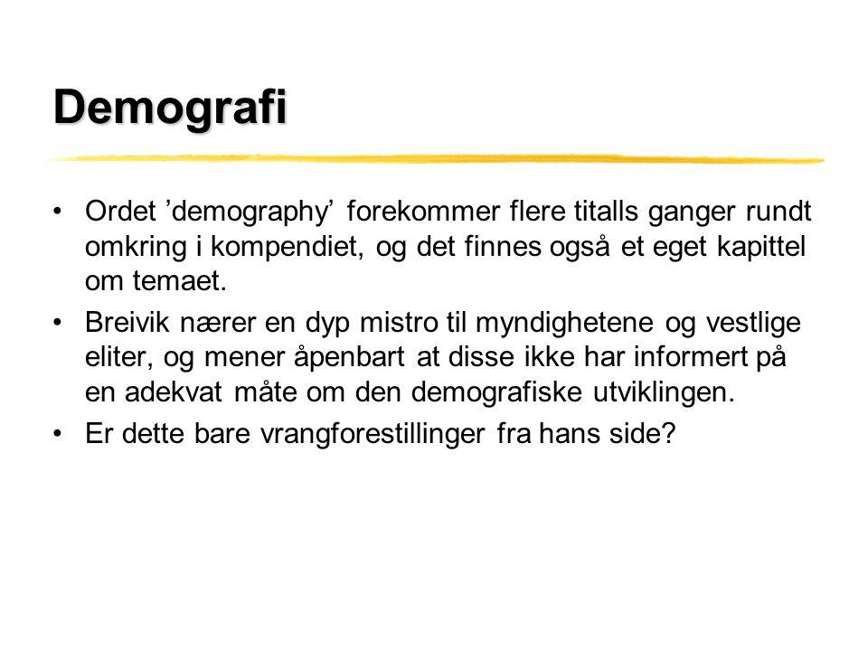 Demografi •Ordet 'demography' forekommer flere titalls ganger rundt omkring i kompendiet, og det finnes også et eget kapittel om temaet. •Breivik nære