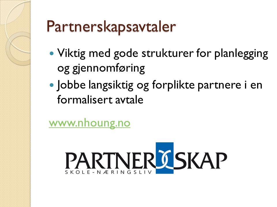 Partnerskapsavtaler  Viktig med gode strukturer for planlegging og gjennomføring  Jobbe langsiktig og forplikte partnere i en formalisert avtale www.nhoung.no