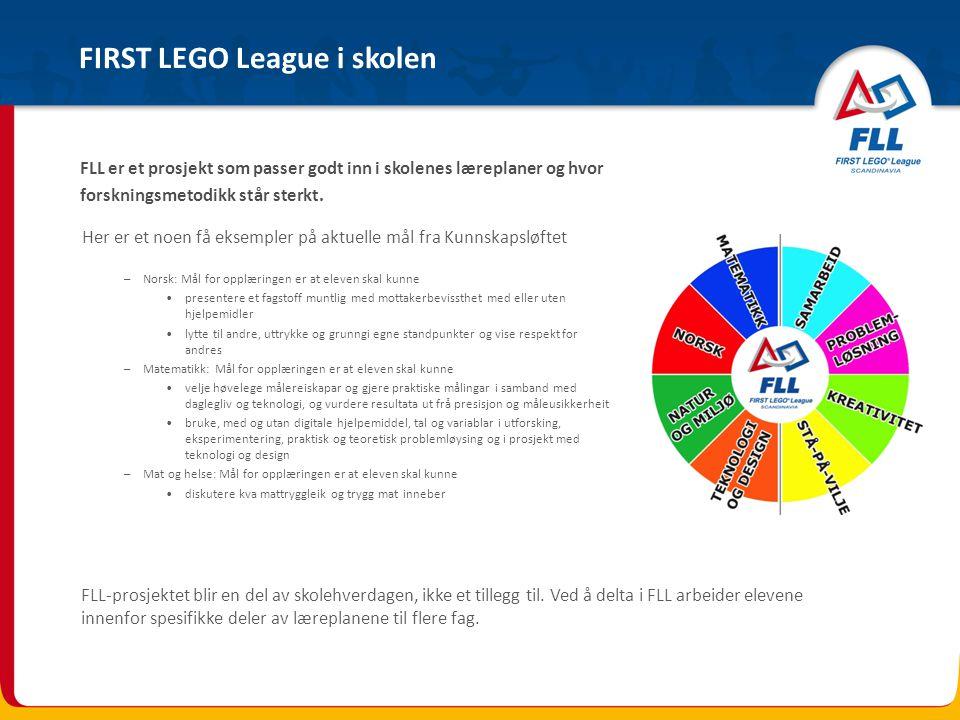 FIRST LEGO League i skolen FLL-prosjektet blir en del av skolehverdagen, ikke et tillegg til. Ved å delta i FLL arbeider elevene innenfor spesifikke d