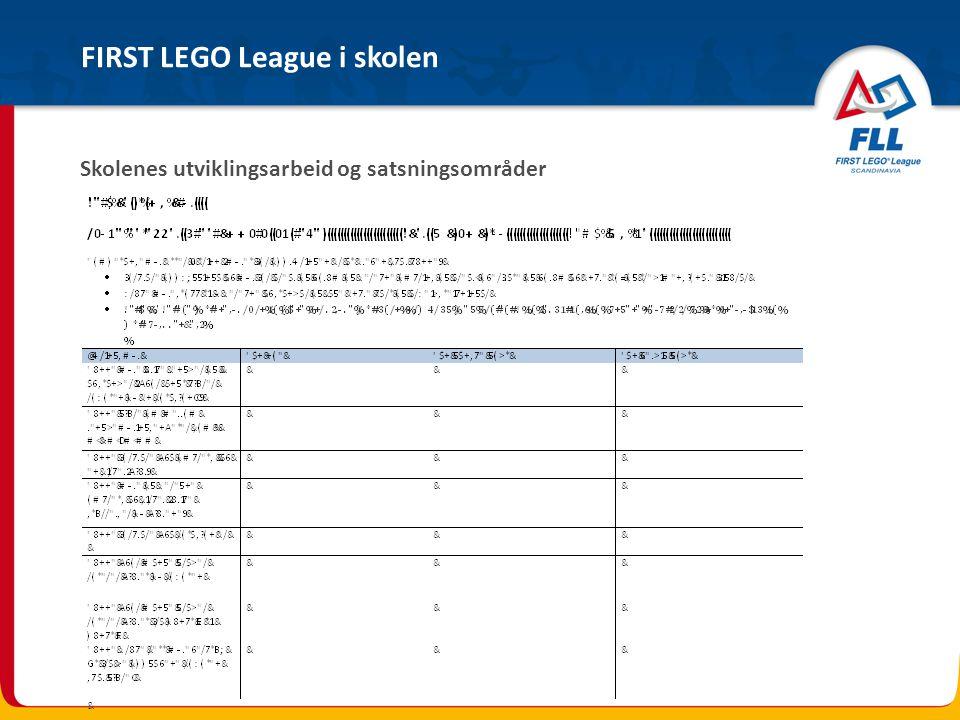 FIRST LEGO League i skolen Skolenes utviklingsarbeid og satsningsområder