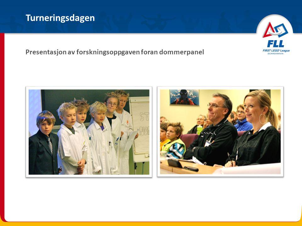 Presentasjon av forskningsoppgaven foran dommerpanel Turneringsdagen