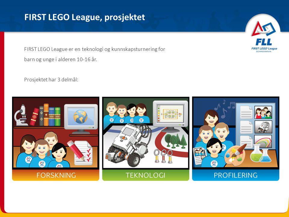 FIRST LEGO League - er et tverrfaglig prosjekt med hovedvekt på naturfag, matematikk og norsk - har målgruppe barn og unge i alderen 10-16 år - har prosjektperiode fra 17.