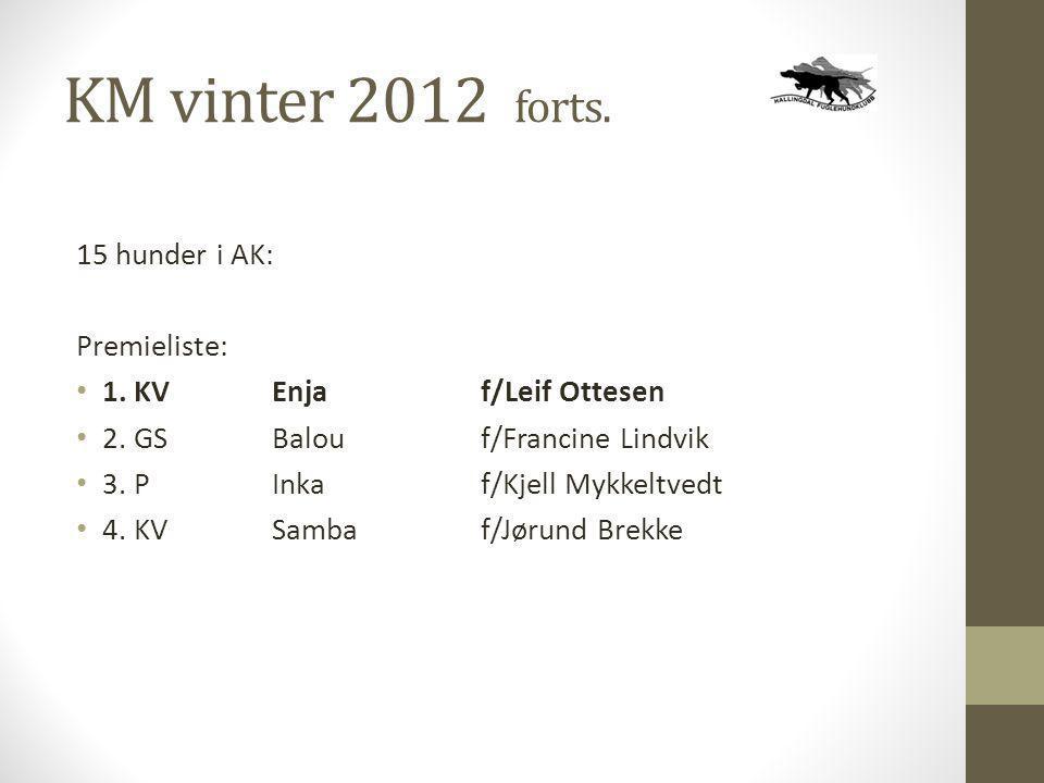 KM vinter 2012 forts. 15 hunder i AK: Premieliste: • 1. KVEnjaf/Leif Ottesen • 2. GSBalouf/Francine Lindvik • 3. P Inkaf/Kjell Mykkeltvedt • 4. KVSamb