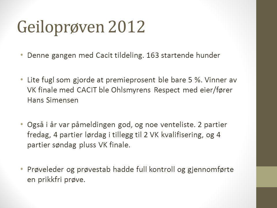 Geiloprøven 2012 • Denne gangen med Cacit tildeling. 163 startende hunder • Lite fugl som gjorde at premieprosent ble bare 5 %. Vinner av VK finale me