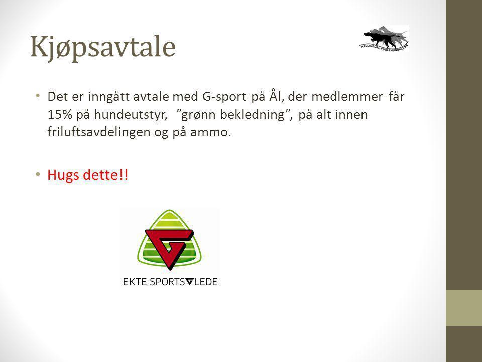 """Kjøpsavtale • Det er inngått avtale med G-sport på Ål, der medlemmer får 15% på hundeutstyr, """"grønn bekledning"""", på alt innen friluftsavdelingen og på"""