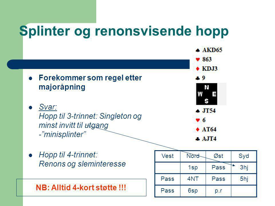 """Splinter og renonsvisende hopp  Forekommer som regel etter majoråpning  Svar: Hopp til 3-trinnet: Singleton og minst invitt til utgang -""""minisplinte"""