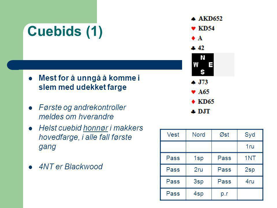 Cuebids (1)  Mest for å unngå å komme i slem med udekket farge  Første og andrekontroller meldes om hverandre  Helst cuebid honnør i makkers hovedf