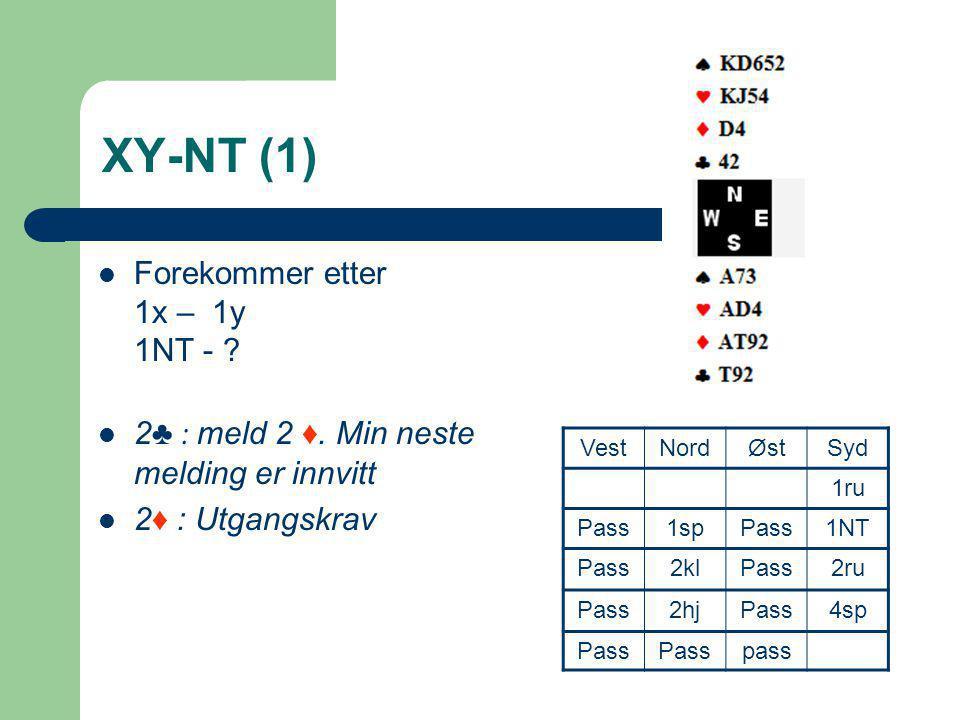 XY-NT (1)  Forekommer etter 1x – 1y 1NT - ?  2 ♣ : meld 2 ♦. Min neste melding er innvitt  2 ♦ : Utgangskrav VestNordØstSyd 1ru Pass1spPass1NT Pass